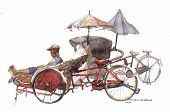 foto of peddlers  - lots of trishaw in watercolor fine art painting - JPG