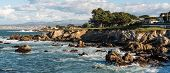 Rocky Coastline On Pacific Grove, California. Pacific Grove Is A Coastal City In Monterey County, Ca poster