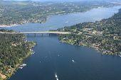 Aerial View Of Seattle Bridge