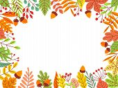 Autumn Leaves Frame. Fallen Yellow Leaf, September Foliage And Autumnal Garden Leaves Border. Fall L poster