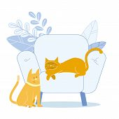 Adorable Ginger Cats Flat Vector Illustration. Happy Cute Kitties Cartoon Characters. Lazy Domestic  poster