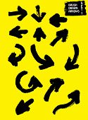 Hand Drawn Arrows With Paint Brush. Brush Arrows Black Color Hand Drawn. Right, Left, Up And Down Br poster