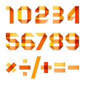 stock photo of arabic numerals  - Spectral letters folded of paper orange ribbon  - JPG