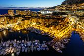 stock photo of yacht  - Aerial View on Fontvieille and Monaco Harbor with Luxury Yachts French Riviera