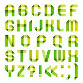 Spectral letters folded of paper ribbon-green and yellow