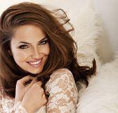 Beautiful Smiling Woman With Amazing Eyes Portrait