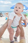 Lovely Baby Boy Outdoor On Beach In Summer