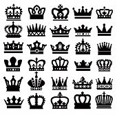 foto of knights  - vector black crown icons set on white - JPG