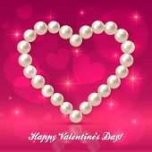 Valentines day pearls vector heart