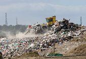 Bulldozer on a landfill site