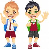 Vector Happy Smiling Schoolchildren Boys