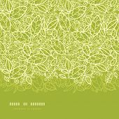 Green lace leaves horizontal seamless pattern background