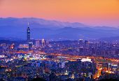 Taipei, Taiwan famed cityscape with mountains in the background.