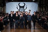 PARIS - JANUARY 23, 2013 : fashion designers Livia Stoianova and Yassen Samouilov at on aura tout vu