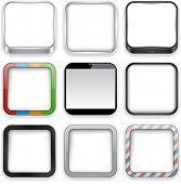Vector illustration of blank high-detailed apps icon set. Eps10.