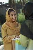 image of dupatta  - Happy Indian woman looking at friend while holding shopping bag - JPG