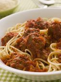 Bowl Of Spaghetti Meatballs In Tomato Sauce poster