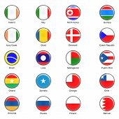 Vector World Flag Buttons - Pack 3 of 8