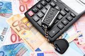 Calculators and keys for euro banknotes.