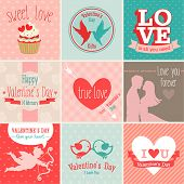 Picture of valentine`s day set - greeting cards. Vector illustration.