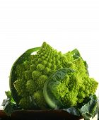 stock photo of romanesco  - head of cabbage romanesco on wooden plate - JPG