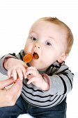 picture of yucky  - cute baby boy eating a healthy lunch - JPG