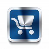 pic of cart  - Square metal button with shopping cart icon print on top of it - JPG