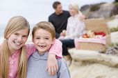 Families At Beach With Picnic Smiling