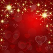 Festive Red Abstract Background With Shining Stars And Hearts