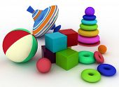 3d render illustration of child's toys. Ball, blocks, pyramid and spinning top
