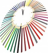 Clock made of crayons in perspective