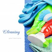 stock photo of neat  - Colorful cleaning products isolated over white with copyspace - JPG