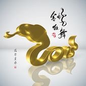 Golden Snake, Chinese New Year 2013. Translation: Golden Snake Dancing and Celebrating the New Year