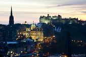 View Of Edinburgh Castle At Sunset