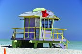 Colorful lifeguard station on blue sky in Miami Beach, Florida