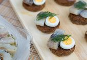Canapes With Herring And Eggs