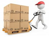 stock photo of pallet  - 3d white person pushing a pallet truck - JPG