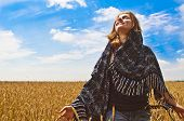 Beautiful Woman On Wheatfield I