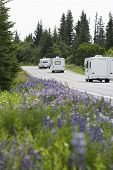 Recreational vehicles on a rural road