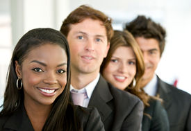 stock photo of latin people  - group of business people smiling in an office - JPG