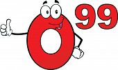 Price Tag Red Number 0 99 Cartoon Character Giving A Thumb Up
