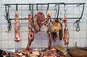 picture of slaughter  - Meat hulks in butcher shop - JPG