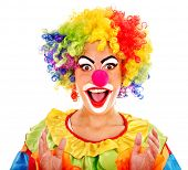 stock photo of clown face  - Portrait of clown with makeup - JPG