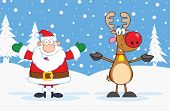 Happy Santa Claus And Reindeer Characters