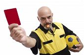 stock photo of referee  - Isolated referee showing red card at the view - JPG