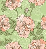 Floral seamless pattern with pink roses on green background