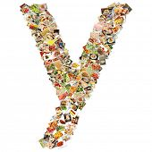 Food Art Y Lowercase Shape Collage Abstract