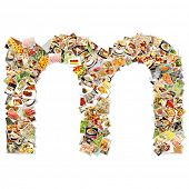 Food Art M Lowercase Shape Collage Abstract
