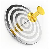 Golden Thumbtack On Target