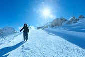 Woman On Winter Dachstein Mountain Massif